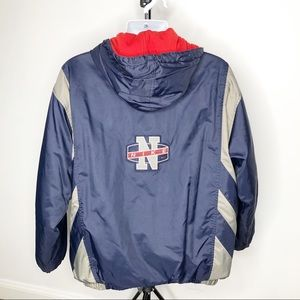 Nike Hooded Varsity Jacket Blue Gray patch logo